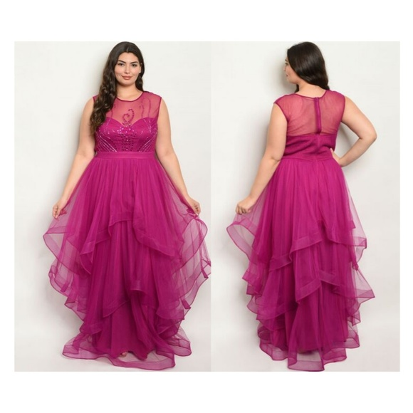 Magenta Gown Plus Size